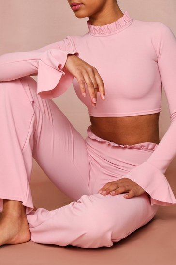 Blush Ruffle Neck & Waist Band Lounge Set