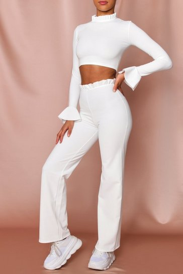 White Ruffle Neck & Waist Band Lounge Set