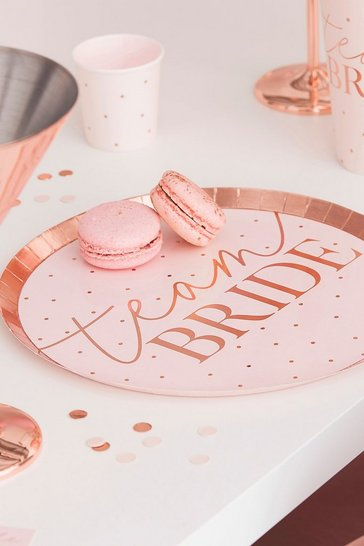 Pink ginger ray team bride plates