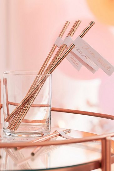 Rose gold ginger ray team bride straws