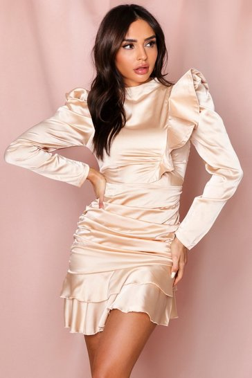 Champagne Puff Shoulder Ruched Frill Satin Dress