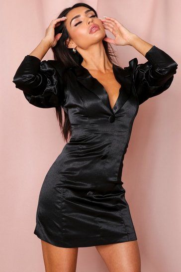 Black Extreme Puff Shoulder Satin Blazer Dress