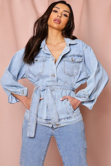 Light wash oversized distressed belted denim jacket
