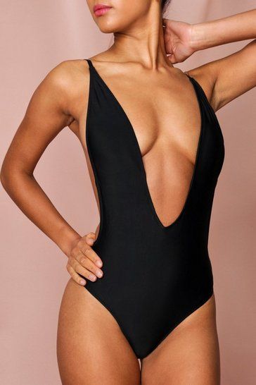 Black Backless Plunge High Leg Swimsuit
