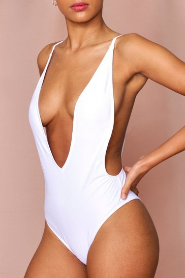 White Backless Plunge High Leg Swimsuit