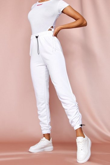 White ruched ankle jogger