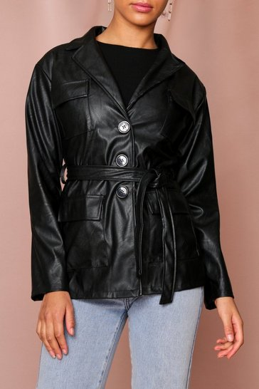 Black Belted PU Utility Jacket