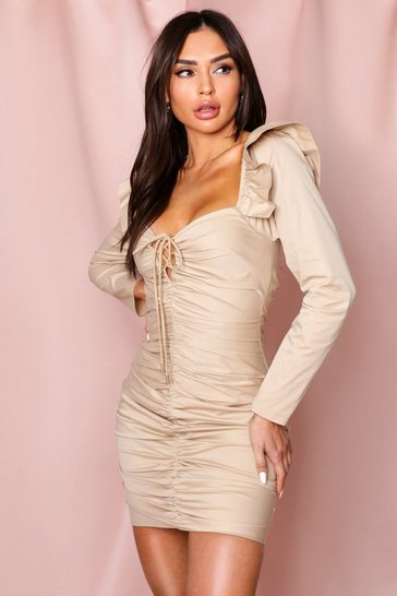 Beige Lace Up Puff Shoulder Ruched Dress