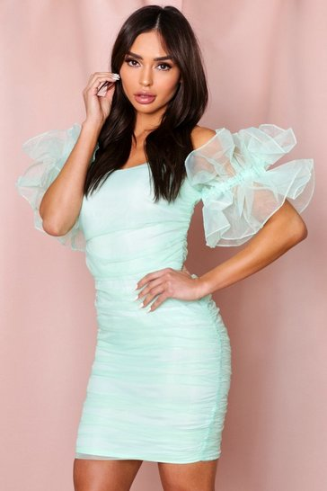 Mint Ruffle Sleeve Organza Bardot Dress