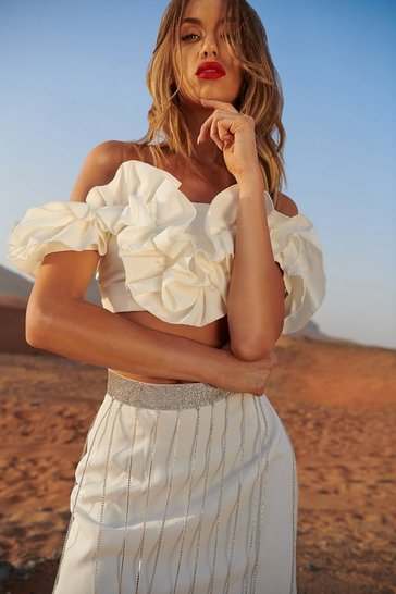 White Ruffle Detail Bardot Top