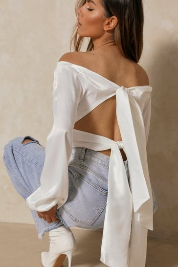 Ivory Satin Off The Shoulder Tie Back Top