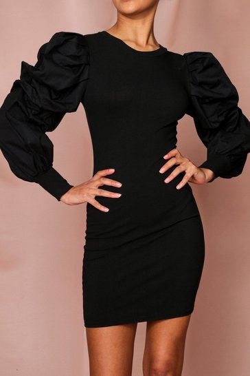 Black Extreme Woven Puff Sleeve Rib Mini Dress
