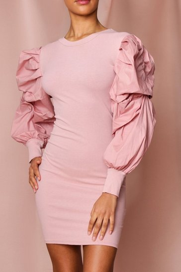 Blush extreme woven puff sleeve rib mini dress