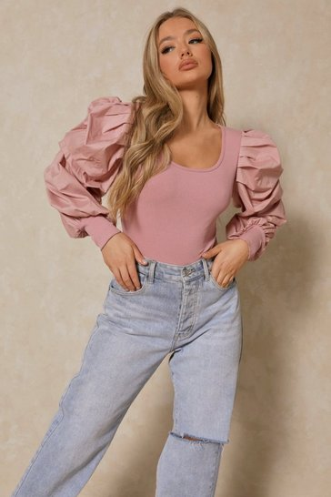 Blush Extreme Puff Sleeve Rib Bodysuit