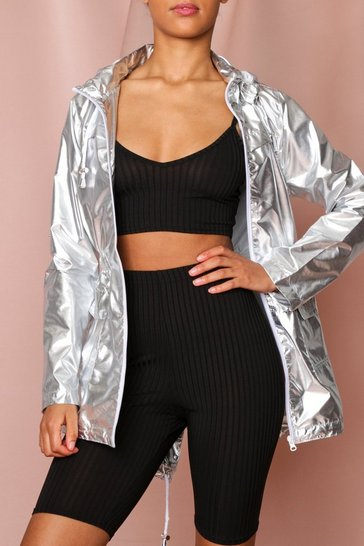 Silver Metallic Hooded Festival Jacket