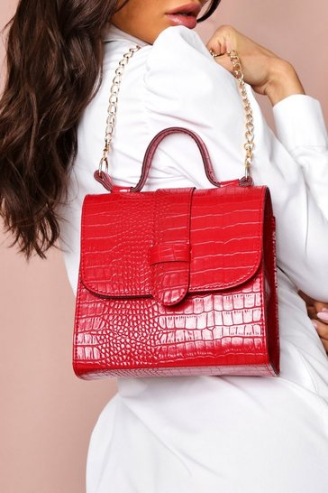 Red croc structured mini bag