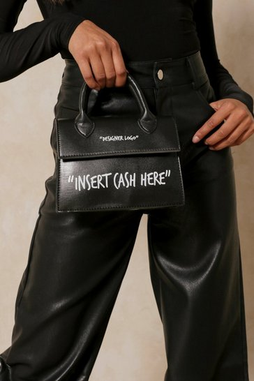 Black insert cash here slogan cross body bag