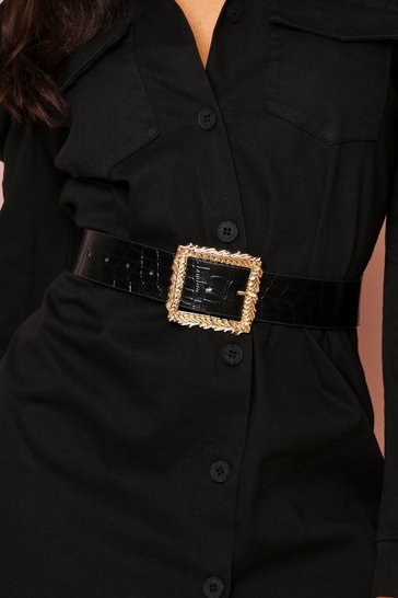 Black textured gold buckled belt