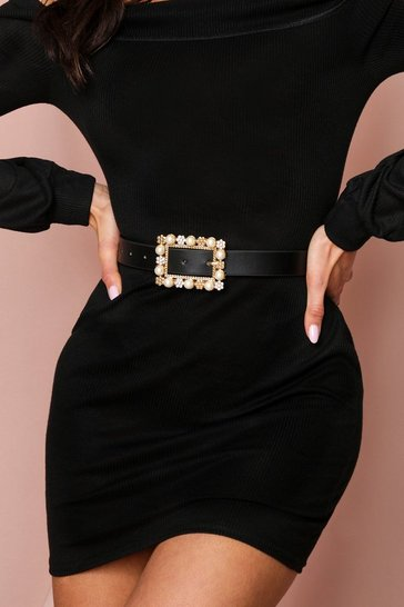 Black pearl + diamante buckle belt