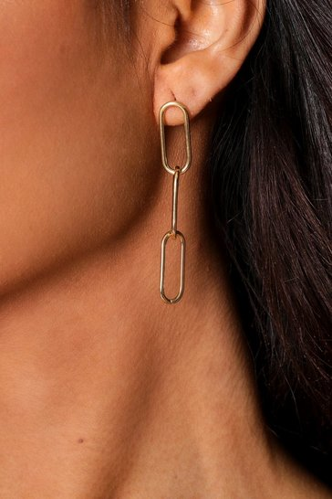 Gold chain link drop earring