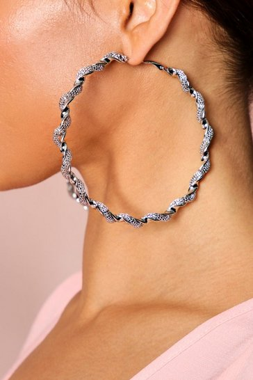 Silver Metal twist hoop earrings