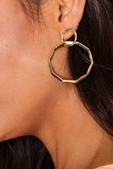 Gold hexagon drop earring