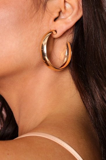 Gold basic thick hoop earring