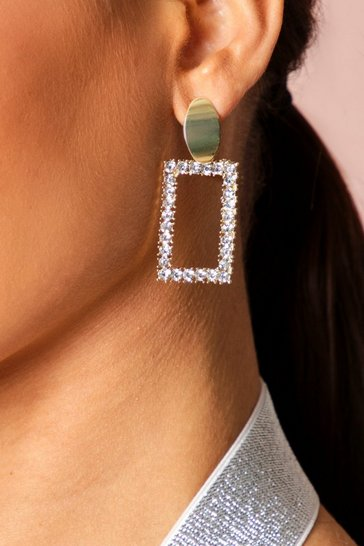 Gold Square diamante drop earring