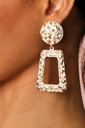 Gold hammered door knocker earring