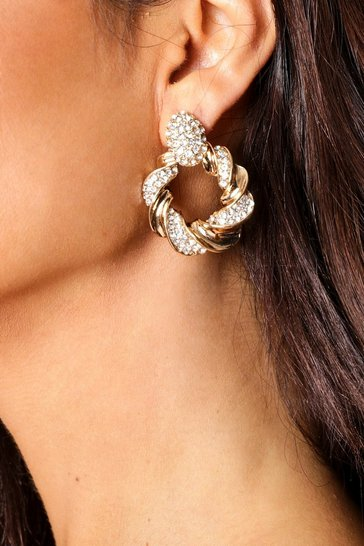 Gold diamante twist circle earring