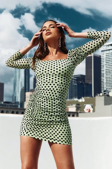 Mint polka dot mesh puff shoulder ruched mini dress