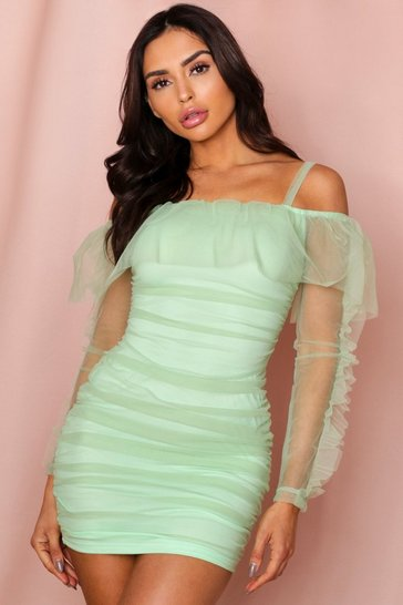 Mint ruched organza bardot mini dress