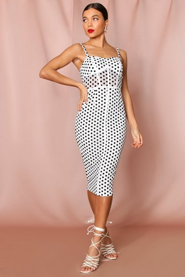 White polka dot mesh square neck midi dress