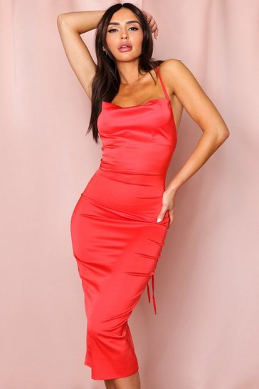 Red satin lace up back cowl neck midi dress