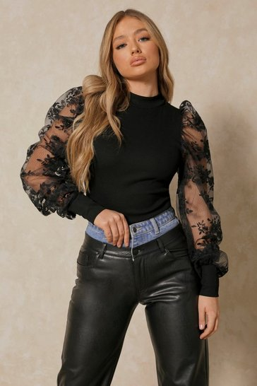 Black extreme lace puff shoulder ribbed top