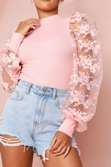 Pink Extreme Lace Puff Shoulder Ribbed Top