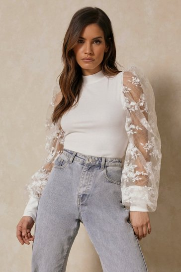 White Extreme Lace Puff Shoulder Ribbed Top