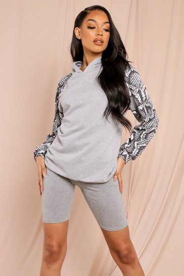Grey Oversized Animal Print Hoodie & Short Set