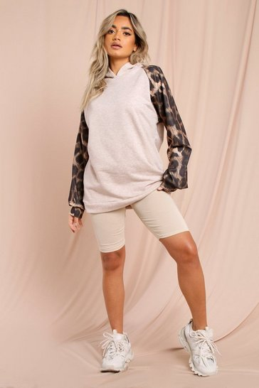 Oatmeal Oversized Animal Print Hoodie & Short Set