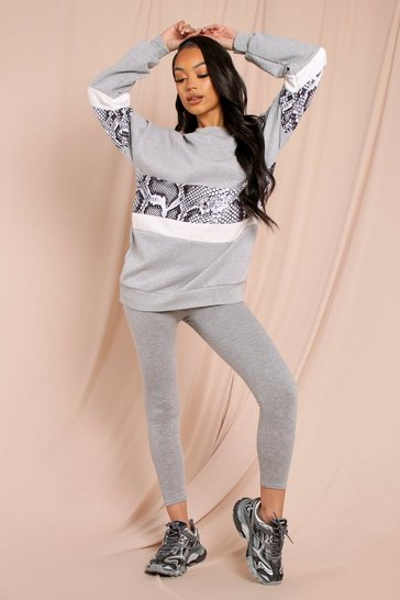 Grey Oversized Animal Panel Sweatshirt Lounge Set