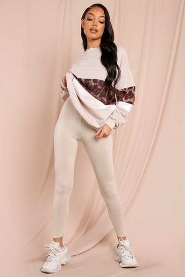 Oatmeal oversized animal panel sweatshirt lounge set