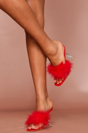 Red fluffy clear heel mules