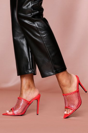 Red diamante detail heeled mules