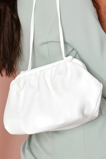 White ruched cross body bag