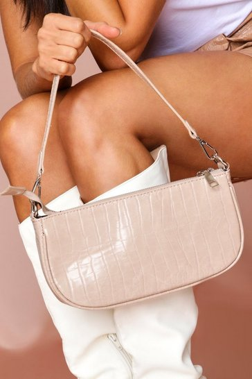Nude croc shoulder bag
