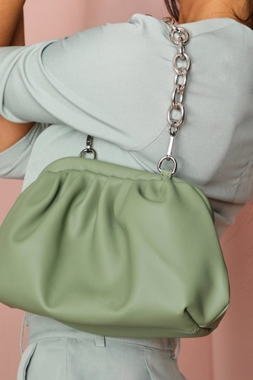 Green chain handle bag