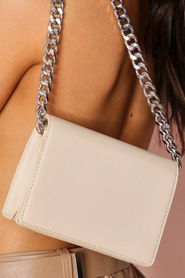 Nude chain detail cross body bag