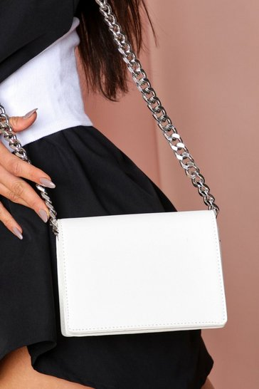 White chain detail cross body bag