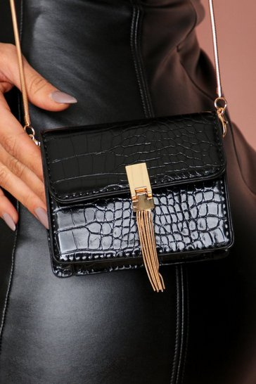 Black micro mini croc bag