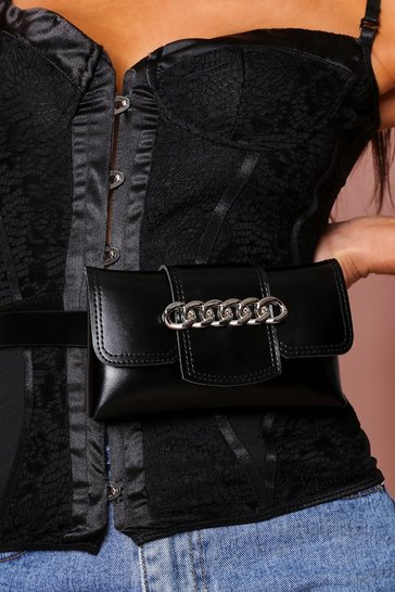 Black chain detail bum bag
